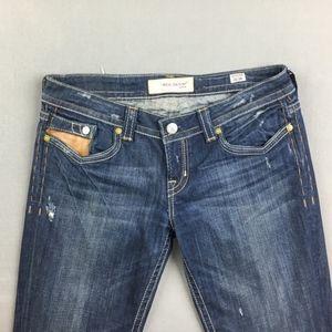 👖 MEK Distressed Bootcut Dark Wash Jeans SZ 8